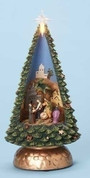Contemporary-Nativity-Christmas-Tree-made-of-Porcelain-with-holy-family-and-kings-inside-measures-10-inches-tall-RO32371