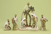 6 Piece Contemporary Nativity Set Includes Jesus Mary Joseph and 3 Kings Metallic Finish 10 and 1 quarter inches tall RO34220
