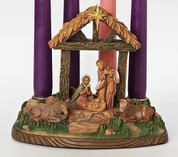 Holy Family in Stable Advent Candleholder by Fontanini Wood Look Resin measures 6 inches tall RO58700