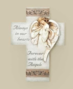 Memorial Wall Cross Earth Tones and White With Angel and sentiment made of Stone-Look Resin measures 8 and 1 half by 13 inches RO68097