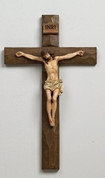 Wall Crucifix Deep Brown Finish Cross in a Rough Hewn Look with Painted Corpus 12 inches RO40106