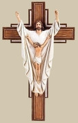 He Is Risen Crucifix Wood Look Cross with Painted Corpus and Risen Lord measures 10 and 1 eighth by 6 and 1 eighth inches RO65965