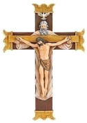 Holy Trinity Crucifix Father Son and Holy Spirit cross has Splayed and  Embellished Ends made of Painted Resin Stone Mix measures 10 and 1 quarter by 7 inches RO65966