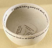 Faith Stone Prayer Vessel Bowl With Messages On Stones made of cream-colored stone-look Resin 2 and 3 quarters by 4 and 1 half inches RO12355
