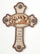 Last Supper Wall Cross IN Earth Tones HAS Budded Ends AND John 6 35 measures 10 inches by 7 and 1 third inches RO63403