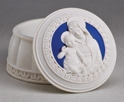 Madonna and Child Keepsake Box White and Royal Blue Resin 2 inches High by 3 inches in diameter RO64595