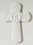 Wedding Cross White with Interlocking Rings and Intricate Design made of Porcelain measures 8 and 7 eighths by  6 and  eighth by 3 quarters of and inch RO65597