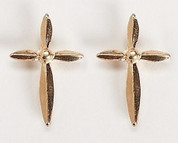 Cross Lapel Pin Gold Accent Center RO40156B