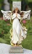 Memorial Cross Painted Angel in front of Stone Look Cross with Sentiment reading Forever With The Angels made of Resin measures 12 inches RO65979