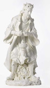 1 Piece Nativity King Melchior with frankincense in White Resin measures 39 and 1 quarter by 18 and 1 half by 18 and 3 quarter inches RO38022