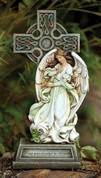 Celtic Standing Cross With Angel and blessing made of Carved Look Resin Stone Mix 14 and 3 quarters by 3 and 1 eighths inches RO62408