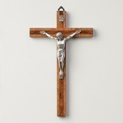 Wall Crucifix made of Two-Toned Finish Burled Wood and Zinc Corpus With Silver Finish measures 10 inches RO13127