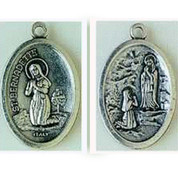 Our Lady of Lourdes Silver Oxidized Saint-Medal bom0315
