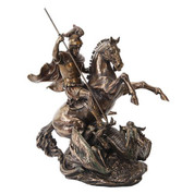 Saint George Statuette depicted Slaying Dragon made of Cold Cast Bronze measures 10 and 1 half by 7 and 1 quarter by 14 inches PT10193