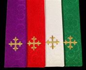 Priests Stole with embroidered cross at bottom and Plain Gold Cross At Neck Jacquard 86 inches long Available in Purple Red White and Green ALB1024