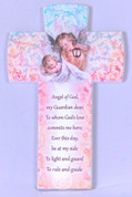 Guardian Angel Cross Pink & Blue ceramic with Prayer and Sleeping Baby measures 6 an 1 quarter inches made in Italy FAR2830A01