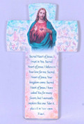 Sacred Heart of Jesus Cross Pastel Colors with Prayer made of Ceramic measures 6 and 1 quarter inches Made in Italy FAR2830C02