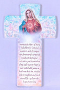 Immaculate Heart of Mary Cross Prayer Pastel Pattern measures 6 and 1 quarter inches Made in Italy FAR2830C52