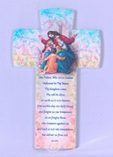 Jesus With Children Cross Our Father Prayer Pastel Lilies Pattern measures 6 and 1 quarter inches Made Italy FAR2830G21