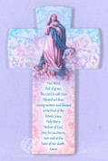 Our Lady Of The Assumption Wall Cross with Pastel Lily Pattern and Hail Mary Prayer made of Ceramic in Italy measures 6 and 1 quarter inches FAR2830M257