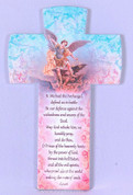Saint Michael The Archangel Wall Cross Pastel Shades With Bright Accents Traditional Prayer Made In Italy measures 6 and 1 quarter inches FAR2830S53