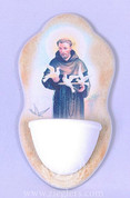 Holy Water Font with saint Francis of Assisi made of Textured Resin holds about 1 ounce from Italy measures 6 by 2 and 1 half inches with d ring for hanging from Italy FAR2943S35
