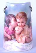 Ceramic Tile with Guardian Angel Kissing Child - Style FAR2203A03