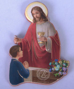 First Communion Magnet shows Christ Administering Holy Communion to a young Boy FAR15K28