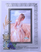 "Blessed Sacrament | First Communion Frame | Embellished Glass | 5"" x 7"" 