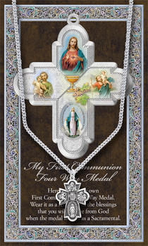 Four Way Medal First Communion Necklace Pewter Cross measures 1 and 1 half inches on 24Inch Stainless Steel Eternity Chain with Information Card HI950689