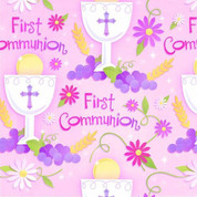 First Communion Gift Wrap chalice and flowers on pink background with words first communion measures 30 inches by five feet AN239100