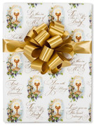 First Communion Gift Wrap with Blessed Sacrament scripture and floral accents measures 24 inches by 10 feet CRRRSTW76