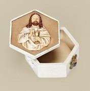 Christ with Eucharist communion Keepsake Box made of Resinand dolomite mix measures 3 and 1 half inches diameter RO65948