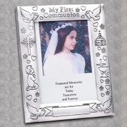 First Communion Frame with Flowers and Catholic Symbols on Silver Finish can be personalized for Photo Size 5 by 7 inches DV13919