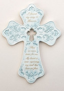 Bereavement Wall Cross Blue porcelain with Cut-Out Design measures 8 and 1 quarter by 6 and 1 quarter inches RO10231