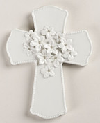 Love In Bloom Wedding Wall Cross features Flowers With Silver Accents on White Porcelain Cross measures 7 and 1 quarter by 5 and 1 third inches RO10073