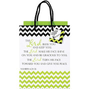 Lord Bless You Gift Bag with Numbers 6 24 through 26 and 2 Sheets Tissue Paper with Coordinating Gift Tag and Black Cord Handles measures 7 by 10 by 4 inches DIGB4012