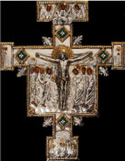 San Damiano Style Crucifix Copper and Silver With Silver Finish Color Accents 13 and 3 quarters by 18 inches made in Poland ABA076M