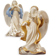 Angels of Peace and Hope porcelain Figurines from Lenox First Blessings Series 24K Gold Accents stand 8 and 1 half inches tall LEN409100