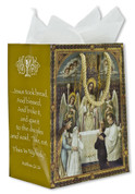 First Communion Gift Bag Boy & Girl With Christ measures 9 and 1 quarter by 7 and 3 quarters inches with tissue CRRSSTWJFC Tissue Included