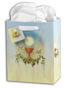 First Communion Gift Bag with Blessed Sacrament and symbols Ribbon Handles Coordinating Gift Tag and Tissue Available in Three Sizes HIGB689