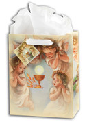 First Communion Gift Bag with Angels Eucharist comes with tissue gift tag select from3 Sizes Tissue Gift Tag HIGB695