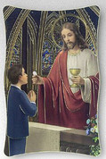 First Communion Plaque with boy and Jesus offering communion with gold accents on wood select from two sizes made in italy FAR2950K126