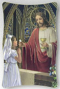 Girl With Jesus | First Communion Plaque | Gold Accents | Italy