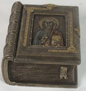 Christ Pantocrator Book Shaped Trinket Box 4 inch Gold Finish
