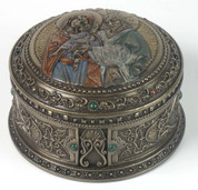 Holy Family Round Trinket Box Bronze Finish