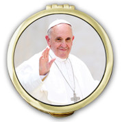 Pope Francis  Pyx made of lead free pewter with 24 karat gold plate finish measures 2 an 1 eighth inches by 1 half inches made in u s a includes burse CTSPC73