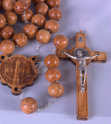 Rosary Wall St Benedict in Olivewood - Style LALRG0009SB