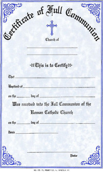 Full communion form certificate style 170 f c for Free catholic confirmation certificate template