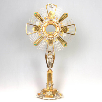 Italian-Monstrance-Ostensoria-for-adoration-made-with-brass-construction-gold-and-silver-high-polish-finish-with-tracking-luna-SEG120HCM70